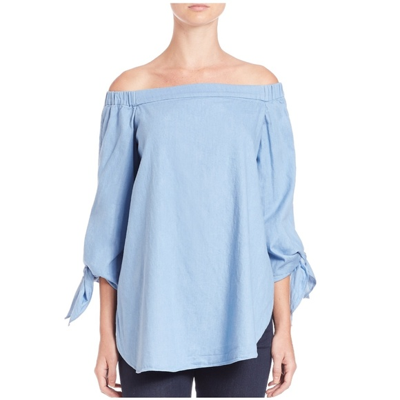b99e98069a859 NWT Tibi Off Shoulder Tie Sleeves Blue Tunic 12